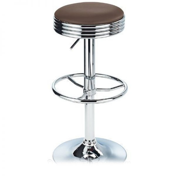 Michigan Retro Adjustable Padded Breakfast Bar Stool - Brown