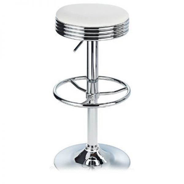 Michigan Retro Adjustable Padded Breakfast Bar Stool - White