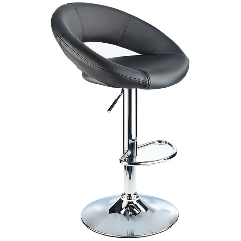 Lunar Adjustable Padded Kitchen Bar Stool - Black