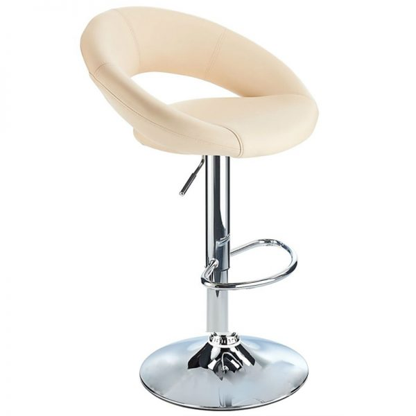 Lunar Adjustable Padded Kitchen Bar Stool - Cream