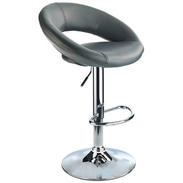 Lunar Adjustable Padded Kitchen Bar Stool - Grey