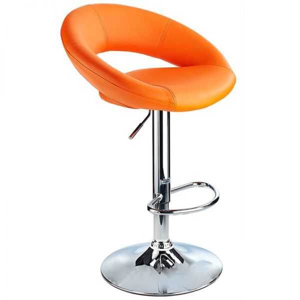 Lunar Adjustable Padded Kitchen Bar Stool - Orange