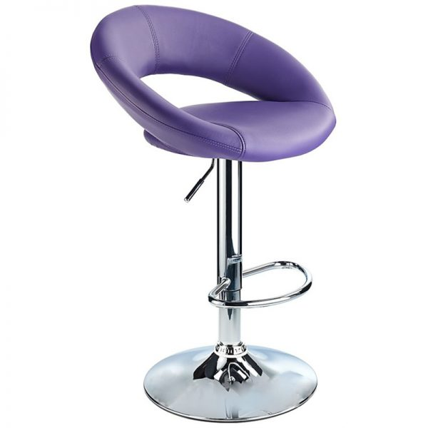 Lunar Adjustable Padded Kitchen Bar Stool - Purple