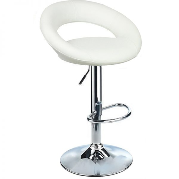 Lunar Adjustable Padded Kitchen Bar Stool - White