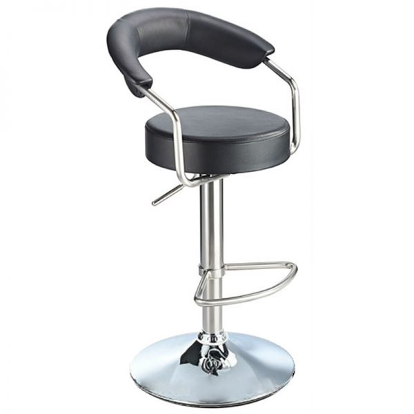 Pinnacle Stainless Steel Adjustable Bar Stool - Black