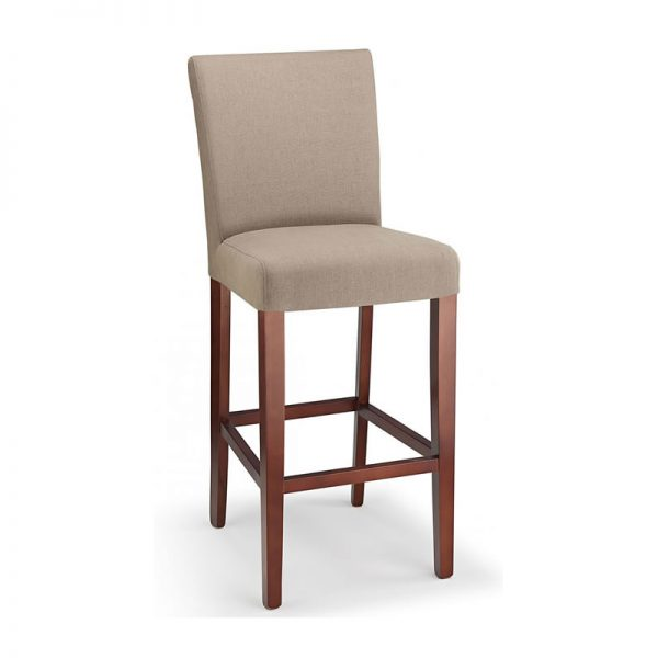 Pramit Fabric and Wood Kitchen Bar Stool - Beige