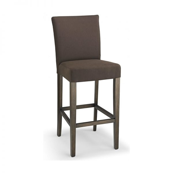 Pramit Fabric and Wood Kitchen Bar Stool - Brown