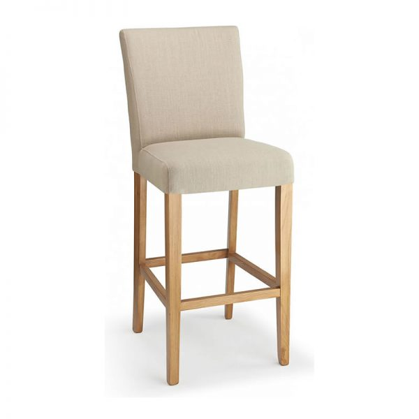Pramit Fabric and Wood Kitchen Bar Stool - Cream