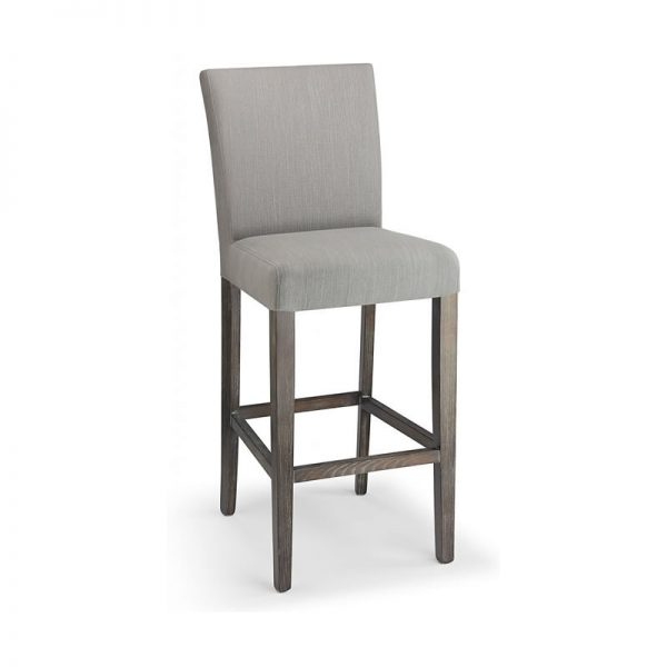 Pramit Fabric and Wood Kitchen Bar Stool - Grey