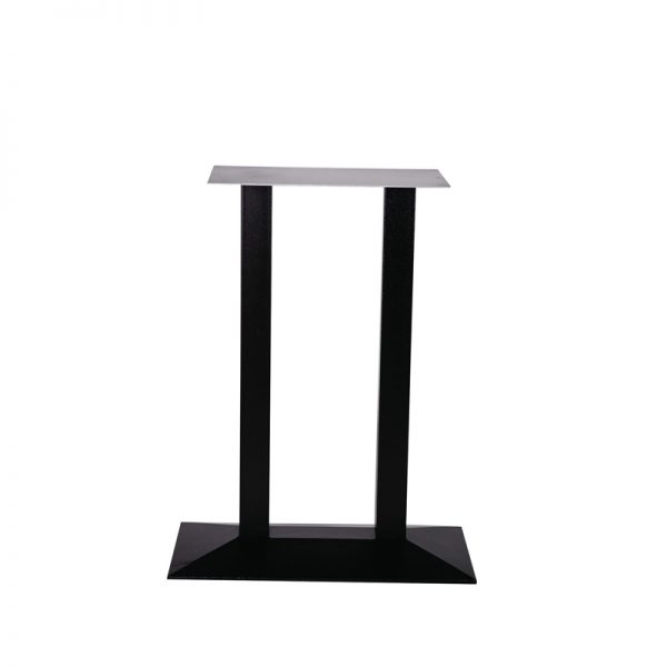 Quinn Twin Square Cast Iron Tall Bar Fixed Floor Commercial Table Base - Black
