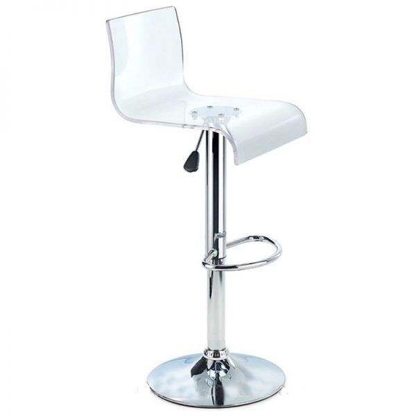 Snazzy Adjustable Acrylic Kitchen Bar Stool - Clear
