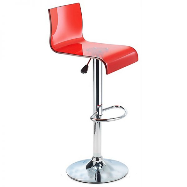 Snazzy Adjustable Acrylic Kitchen Bar Stool - Red