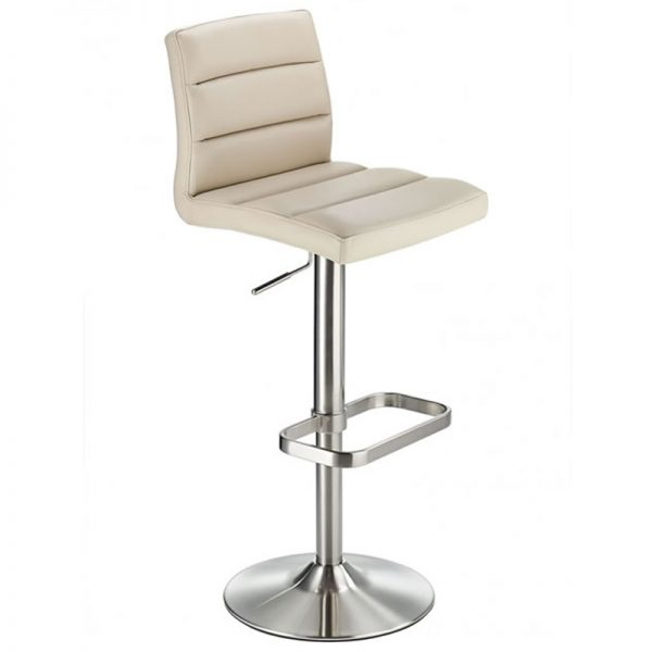 Swank Adjustable Padded Fabric Kitchen Bar Stool - Beige