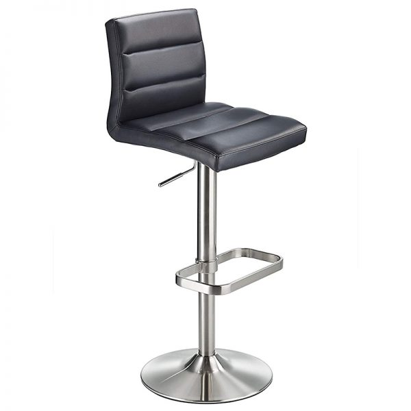 Swank Adjustable Padded Fabric Kitchen Bar Stool - Black