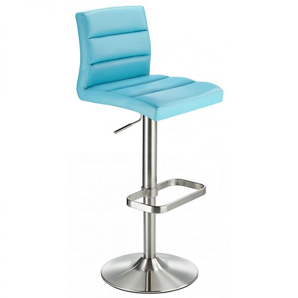 Swank Adjustable Padded Fabric Kitchen Bar Stool - Blue