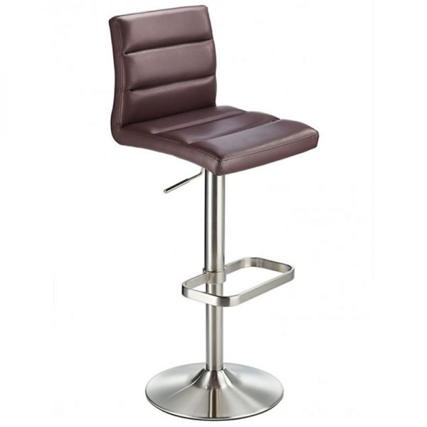 Swank Adjustable Padded Fabric Kitchen Bar Stool - Brown