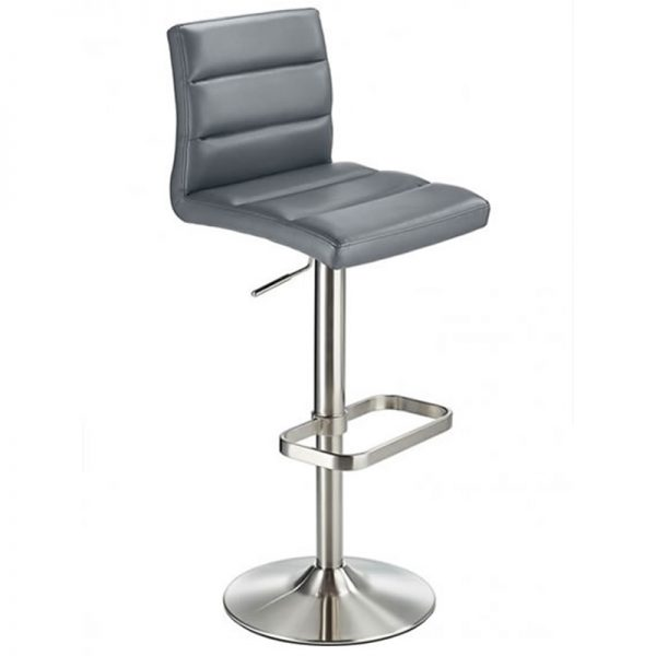 Swank Adjustable Padded Fabric Kitchen Bar Stool - Grey