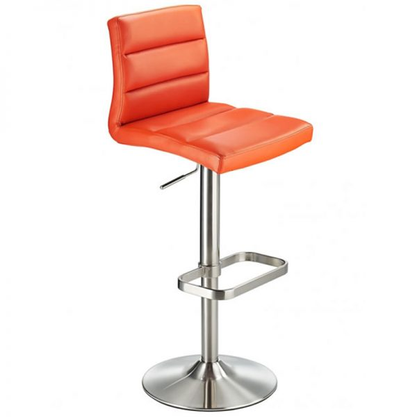 Swank Adjustable Padded Fabric Kitchen Bar Stool - Orange
