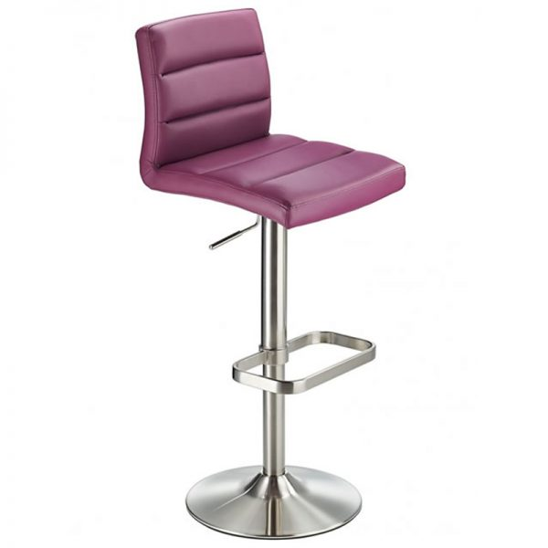 Swank Adjustable Padded Fabric Kitchen Bar Stool - Purple