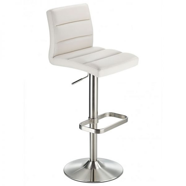 Swank Adjustable Padded Fabric Kitchen Bar Stool - White