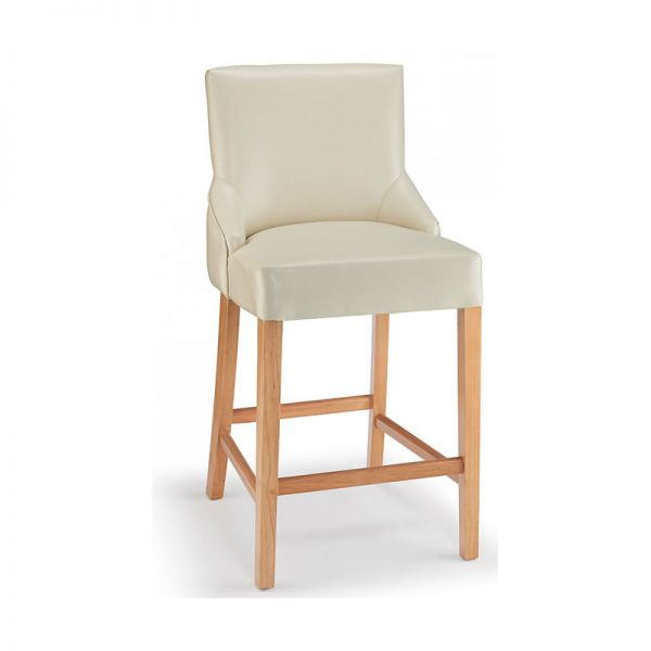 Vandora Oak Wood and Padded Fabric Kitchen Bar Stool - Cream