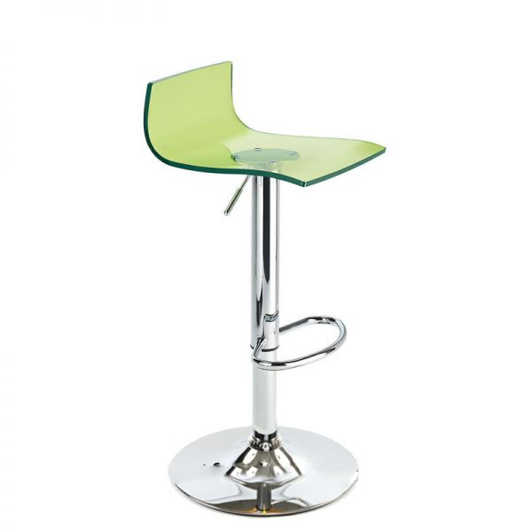 Wye Transparent Acrylic Adjustable Breakfast Bar Stool - Green