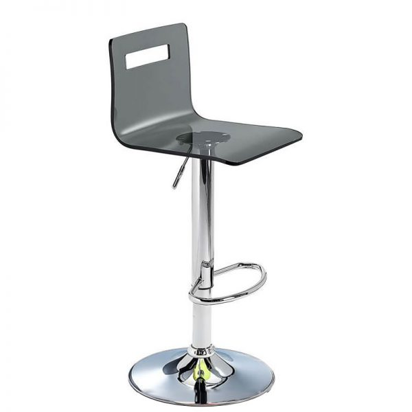 Tower Transparent Acrylic Adjustable Kitchen Bar Stool - Black