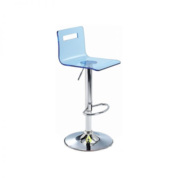 Tower Transparent Acrylic Adjustable Kitchen Bar Stool - Blue