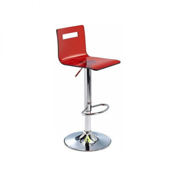 Tower Transparent Acrylic Adjustable Kitchen Bar Stool - Red