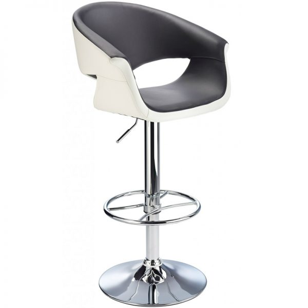 Apene Height Adjustable Bar Stool with Padded Back - Black