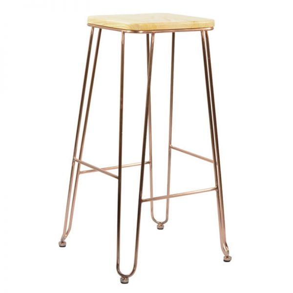 Arzi Copper Industrial Fixed Height Bar Stool