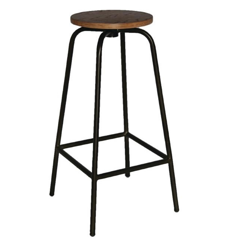 2 x Calerio Industrial Fixed Height Bar Stools