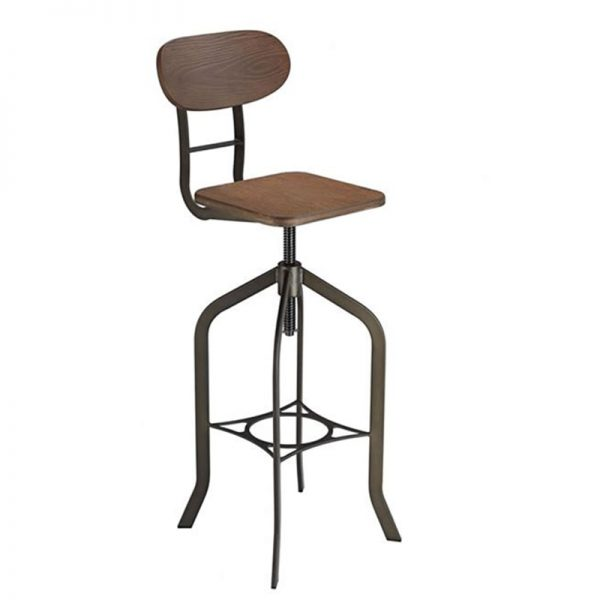 Fapone Industrial Adjustable Kitchen Bar Stool - Brown