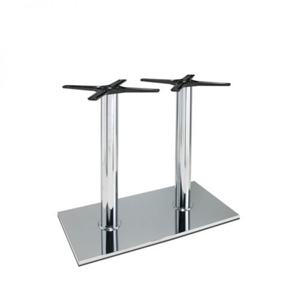 Lucci Cruciform Chrome Twin Tall Bar Fixed Floor Commercial Table Base - Chrome - 73cm
