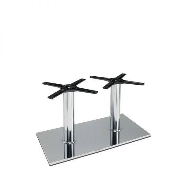 Lucci Cruciform Chrome Twin Tall Bar Fixed Floor Commercial Table Base - Chrome - 40cm