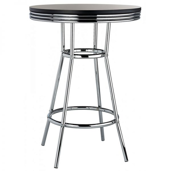 New Orleans Tall Retro Poseur Bar Table - Black