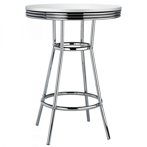New Orleans Tall Retro Poseur Bar Table - White