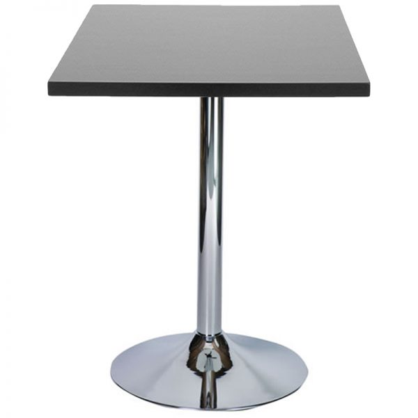 Ramizon Chrome Square Bar Poseur Table - Black