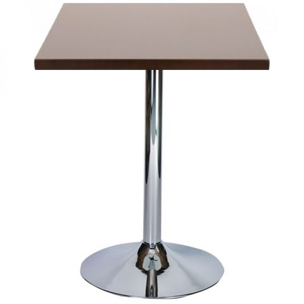 Ramizon Chrome Square Bar Poseur Table - Walnut
