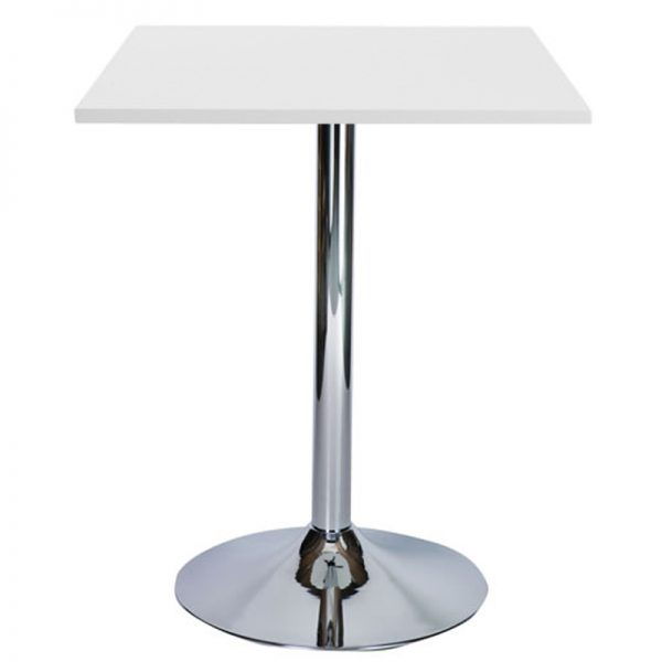 Ramizon Chrome Square Bar Poseur Table - White