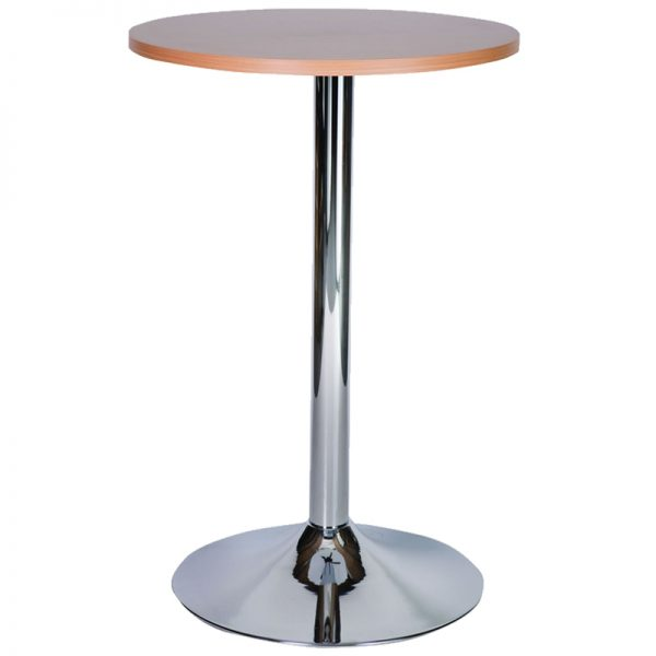 Ramizon Chrome Round Bar Poseur Table - Beech