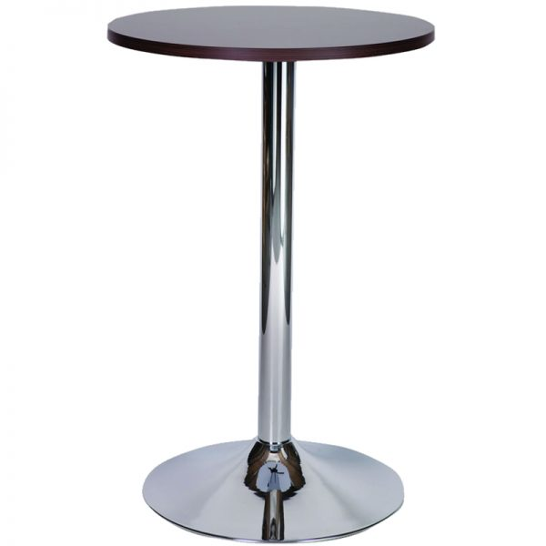 Ramizon Chrome Round Bar Poseur Table - Black