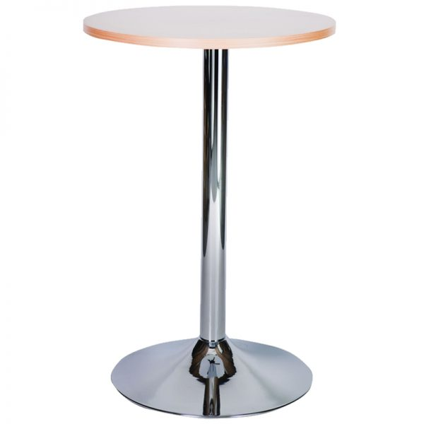 Ramizon Chrome Round Bar Poseur Table - Oak