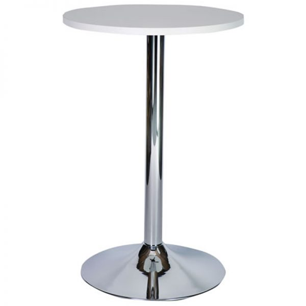 Ramizon Chrome Round Bar Poseur Table - White