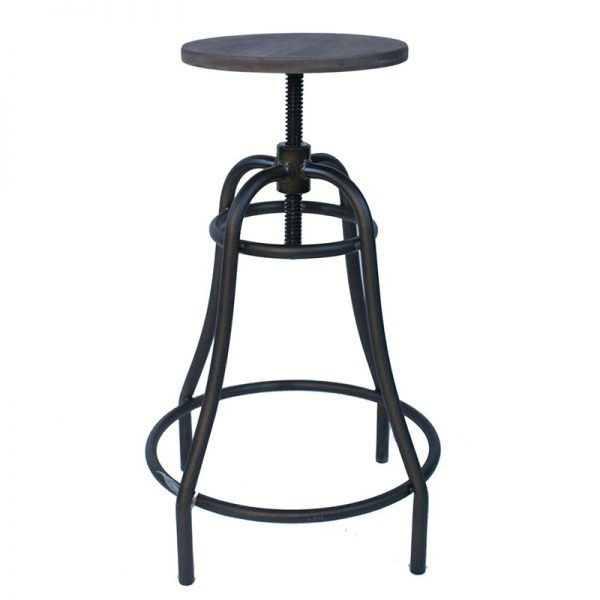 Tarapo Industrial Adjustable Breakfast Bar Stool - Black