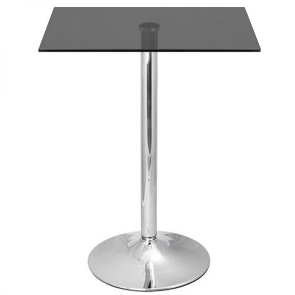 Vetor Chrome Square Poseur Bar Table - Black