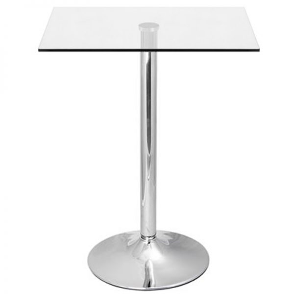 Vetor Chrome Square Poseur Bar Table - Clear