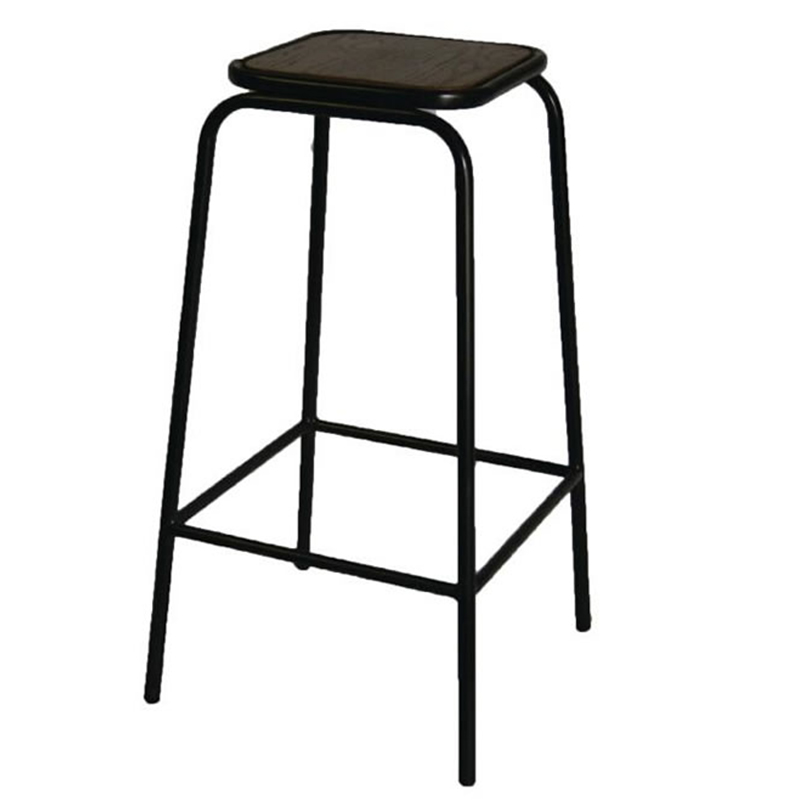 2 x Zalerio Industrial Fixed Height Bar Stools