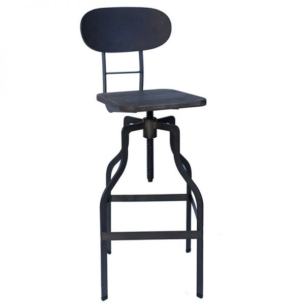 Zapopi Industrial Adjustable Kitchen Bar Stool - Espresso