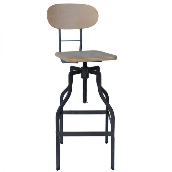 Zapopi Industrial Adjustable Kitchen Bar Stool - Natural